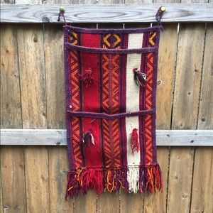 Vintage Kilim Mexican Hanging Tapestry w/ Pockets